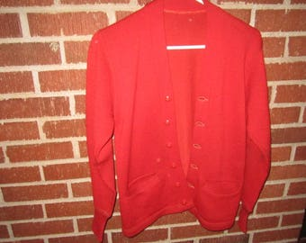 Vintage 1950s/60s Red Wool High School Cardigan Letter Sweater