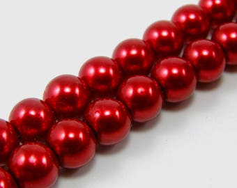 Set of 5 beads 10 mm glass Pearl carmine red