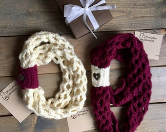 Ready to ship! Infinity scarf, mommy and me infinity scarf, crochet infinity scarf, crochet scarf, burgandy scarf, mommy and me, cream scarf
