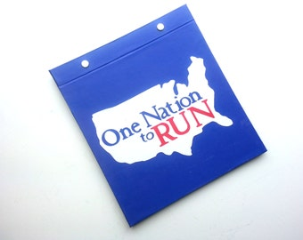 Race Bib Holder - One Nation to Run - Customize colors - 50 states club - Hand-bound Book for Running Bibs - Blue White Red