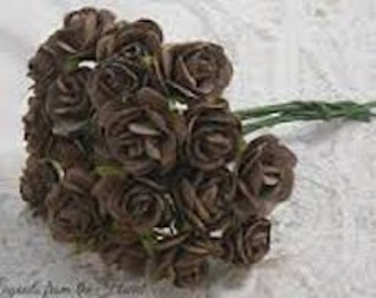 Prima Paper Flowers Brown roses with stems supply Floral Prima Flowers Brown Paper flowers craft supplies scrapbooking supplies
