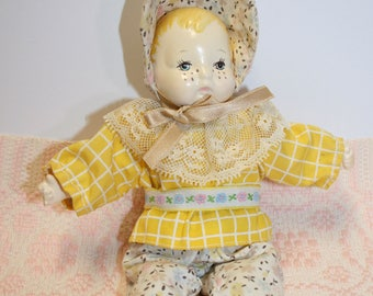 SALE: Vintage baby doll; composite; linen body; freckles; original clothing and bonnet; blonde baby (sc-01)