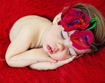 Girl Headband Flowers Floral Poppy Felt Red Baby Toddler Newborn Photography Prop Wool Silk Floral Headpiece