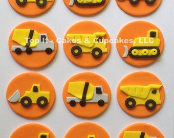 Fondant Cupcake Toppers - Construction Trucks