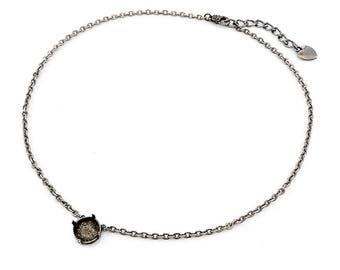 Base pour collier, solitaire 12 mm, argent antique 40 cm, chainette d'extension