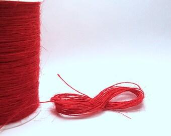 Jute twine cord. Red. 10 or 50 metres