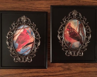 """Cardinal Woods, Set of Two, 4"""" x 6""""  Digital Prints of Male and Female Cardinals from my Original Watercolor Painting, Beautifully Framed"""