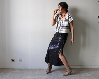 Pigalle / shiny black sequin long straight skirt / high waist / Vintage 80-90 / Made in France size S-M / pencil SKIRT midi length