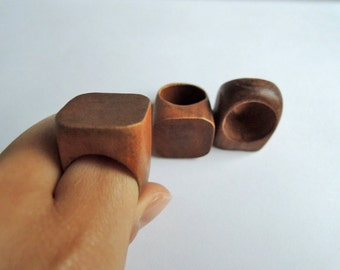 one piece  31x25mm   Brown Natural  Wood Ring for your handmade ( W1055)