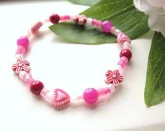 Pink Bracelet with Flowers and Hearts, Large Girls Heart Bracelet, GBL 113