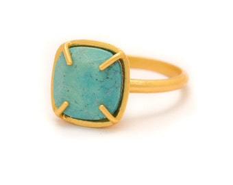 Turquoise in Yellow Gold Gemstone Ring - Yellow Gold Ring - Square Cushion Cut  - Gemstone Ring -  5, 6, 7, 8, 9, 10