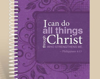 Philippians 4:13 Purple / Personalized Notebook / Prayer Journal