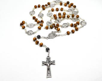 Station of the cross rosary, Via Crucis rosary w Holy Land Olive wood beads, Way of the Cross Chaplet, Mens rosary, Easter, Catholic gift