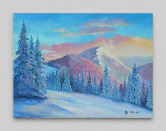 Winter landscape Original painting Snow mountains Realism Oil painting Canvas art Original artwork Snow Christmas trees Wall art Home decor