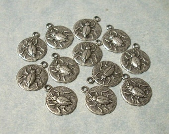 12 Oxidized Silver Beetle Charms 9mm Bug Charms Insect Charms