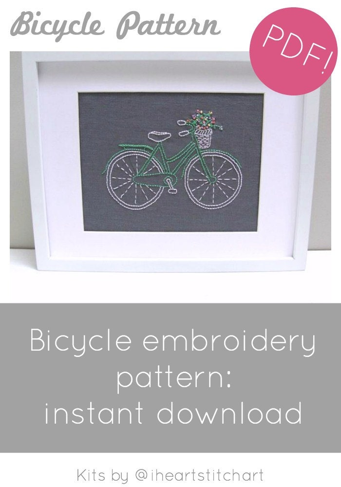 Bicycle embroidery pattern instant download dt1010fo
