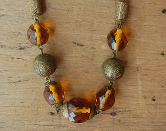 Vintage 1930s faceted amber glass brass necklace ∙ Czech glass bead necklace