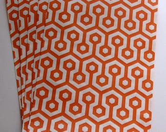"""Set of 10 Orange and White Honeycomb Middy Bitty Bags (5"""" x 7.5"""")"""