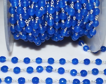 Beautiful Royal Blue Round Chalcedony Rosary Beaded Chain-Chalcedony(Jade) Faceted Round Wire Wrapped Chain , 6 mm - RB5186