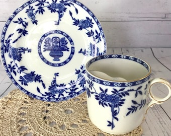 Gentleman's Moustache Cup and Saucer Flo Blue & White with Gilding - Fine English Bone China Antique Large Breakfast Teacup Circa Early 1900
