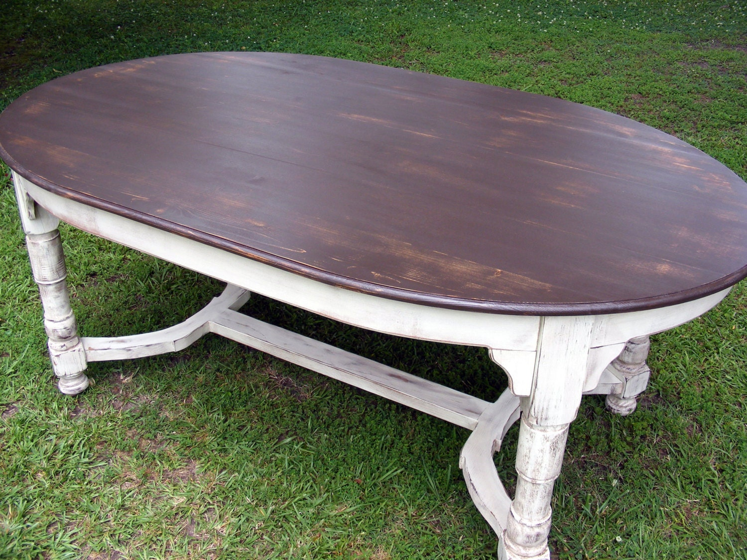 Oval Dining Table Completely Handcrafted Distress Brown Top