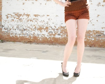 Vintage bloomers, brown lace boy shorts, high waist ladies ruffle hot pants panties, dance rockabilly