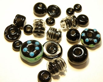 19 Assorted Coordinating Lampwork Boro Glass Beads:Black, Turquoise Blue, Green -- Lot 3W