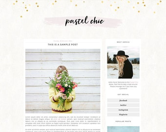 Premade Blogger Template - Instant Download - Pastel Chic - Blogger Template - blogger theme - blog design - blogger blog template