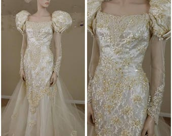 80s wedding dress etsy vintage 80s wedding dress with train beads and gold sequins size 10 by lili international junglespirit Choice Image