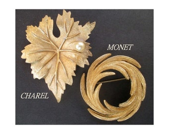 Statement Pins/Brooches * Vintage MONET And CHAREL * Lot Of Two * Large Gold Tone Pins * Gift For Lady