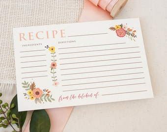 Recipe Cards in Fall Floral Design - Peach and Rust Bridal Shower Recipe Cards - Flower Recipe Cards