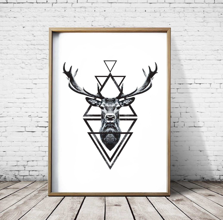 Stag Head Deer Head Wall Art Print Deer Print Deer Antlers