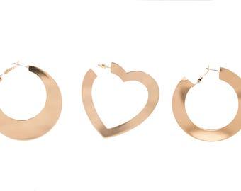 3 pcs Set of Flat Circle Earring, Minimalist Earrings , Round Earrings , Big Heart Earrings ,Disc Earrings ,Everyday Dominant Earrings