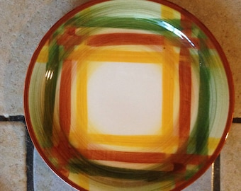 5 Stoneware Dessert Plates with Plaid Pattern by Vernonware