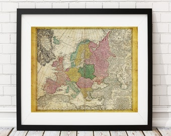 Europe Map Print, Vintage Map Art, Antique Map, Wall Art, History Gift, Old Maps, Spain, France, Germany, Italy, European Gifts, Map Art
