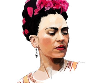 Frida Kahlo - High quality Giclee print of illustration of Mexican artist