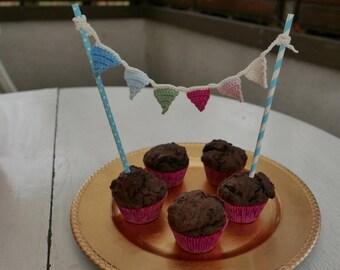 Wimpelgirlande Crochet birthday cake Decoration Gift Pennant Pennants