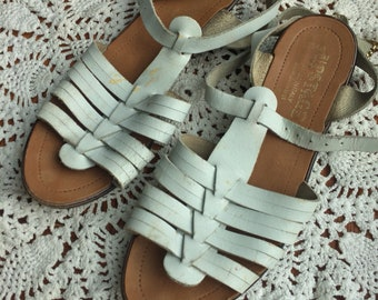 90s white leather strappy sandals