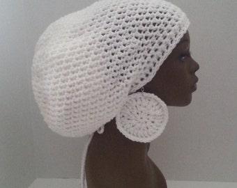 White Crochet Tam with Drawstring and Earrings, Large White Rasta Tam, White Dreadlock Tam and Earrings, Dreadlock Hat/Cap, Hat For Locs