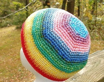 Immediate Download - PDF Crochet Pattern - The Rainbow Beanie