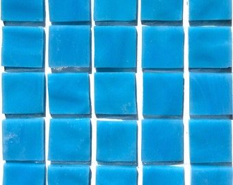 """20mm (3/4"""") Turquoise Blue TIFFANY Stained Glass Mosaic Tiles//Machine Cut Tiles//Mosaic//Mosaic Supplies//Discount Tile//Craft"""