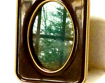 Enameled Brass Oval Frame Cloisonné Frame, Brown Burgundy and Brass 1970s,