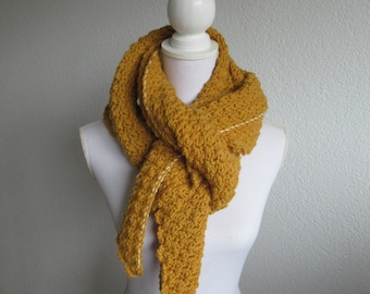 Crochet ochre scarf, crochet shawl, ochre, mustard yellow, gift for women
