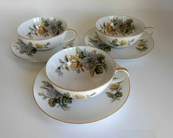 Wentworth China Coffee Cups and Saucers / Replacement China / Chrysanthemum / Eterna Shape / Fine Bone China /  Vintage Floral Dinnerware