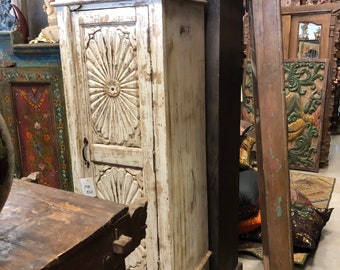 Antique OLD Ivory White Single Door Wardrobe Wood Furniture Storage Cupboard Beautiful Carving Wood Tall Cabinet