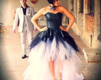 Star / snow white and black leather wedding dress