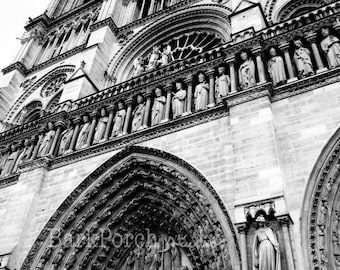 Notre Dame Cathedral, Paris, France; Wall art; Poster; Travel photography; Urban architecture; historical architecture; black and white