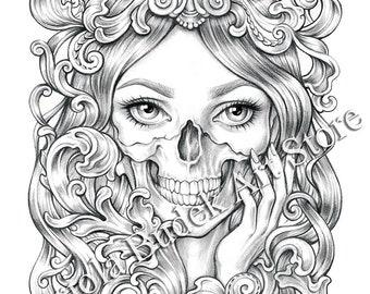 Skull | Mariola Budek - Premium Coloring Page