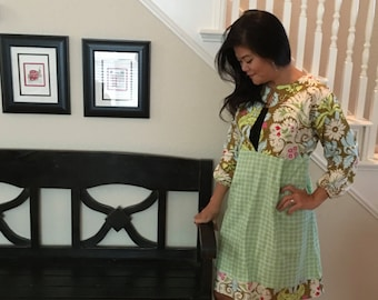 Tunic TOP or DRESS - 3/4 length sleeves - Amy Butler - Belle - Made in any Size - Boutique Mia by CXV