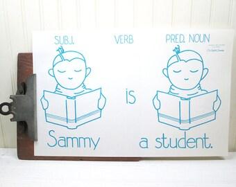 Vintage School Poster Sentence Retro Illustration Our English Language